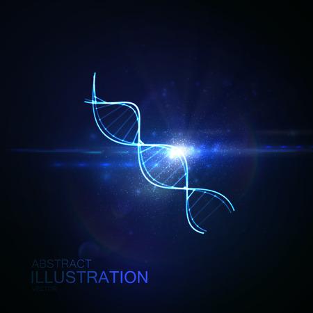 DNA glänzend Neon-Illustration. Vector medizinische Illustration der DNA-Strang mit Licht Flare. Wissenschaft genetische Konzept der DNA-Kette