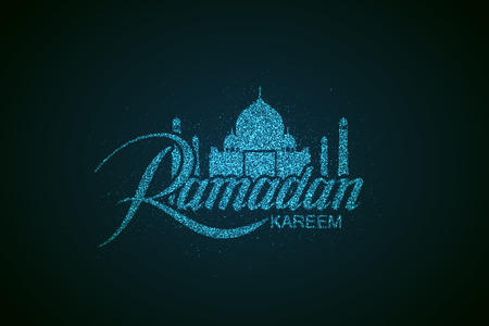 sanctuaries: Ramadan Kareem. Vector holiday illustration of shiny Ramadan Kareem label. Lettering composition of muslim holy month with sparkles and stars. Ramadan Kareem holy month sign