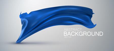 Blauwe zijde stof. Vector illustratie met blauw satijn of zijde stof. Vector zijde textiel. Grote zaken openen of mode-concept