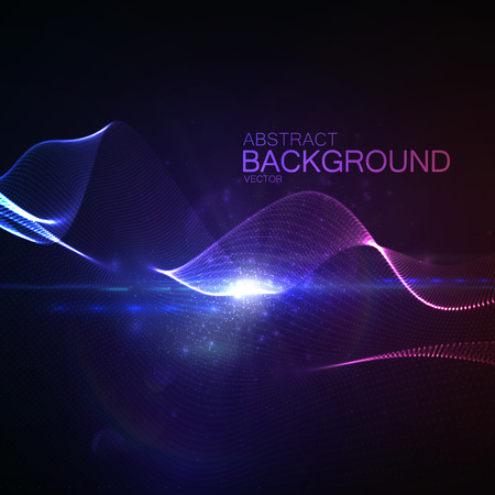 digital wave: 3D illuminated abstract digital wave of glowing particles and Flare lens light effect. Futuristic vector illustration of particles. Technology concept of radio or sound wave. Abstract background