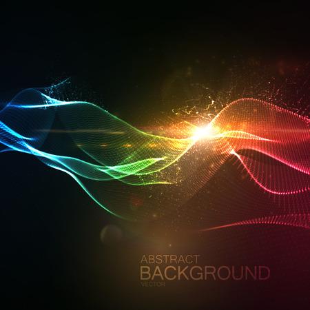 3D verlichte abstracte digitale golf van gloeiende deeltjes en Flare lens licht effect. Futuristische vector illustratie van de deeltjes. Technologie concept van de radio of geluidsgolf. achtergrond Stockfoto - 58538085