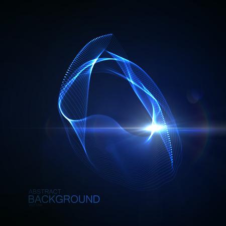3 D 照明抽象デジタル ネオン輝く粒子とフレアのレンズの光の効果のスプラッシュ。粒子の未来的なベクター イラストです。ラジオやサウンド ウェ