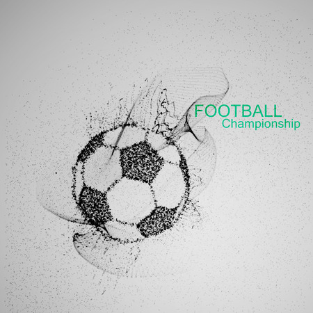 playoff: Football or Soccer abstract ball. Vector sport illustration of flying abstract Soccer Ball made of ink stylized particles. Abstract 3D fluid ink Soccer ball sign