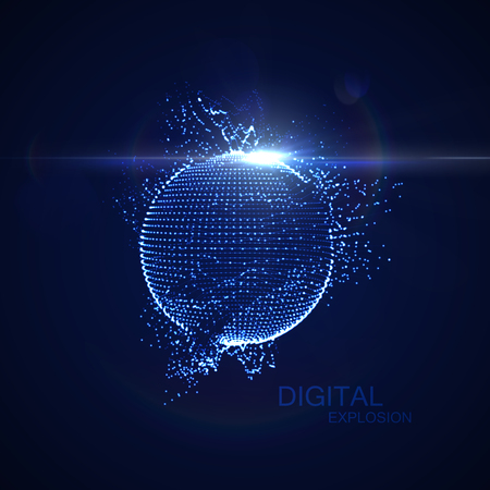 light effect: 3D illuminated distorted sphere of glowing particles, wireframe and flare lens light effect. Futuristic vector illustration. HUD element. Technology digital splash or explosion concept Illustration