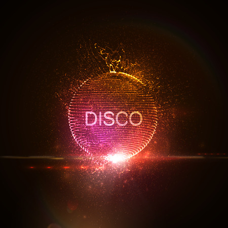 Disco neon teken. 3D verlicht vervormd gebied van gloeiende deeltjes, draadframe, spatten en lens flare licht effect. Muziek feest. Vector illustratie. Discobal.
