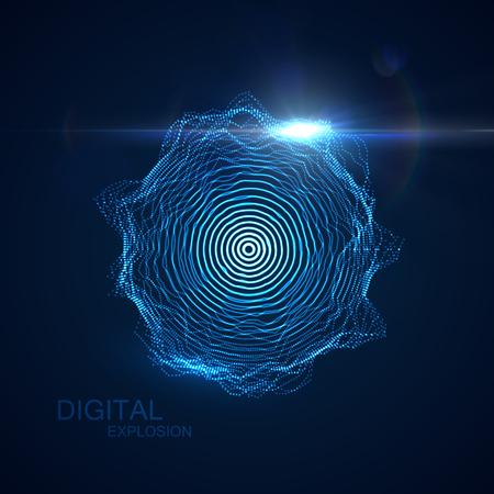 抽象的なベクトルには、粒子群の形状が照らされています。輝く粒子とレンズフレア光効果の形状。未来的なベクター イラストです。HUD 要素。技術デジタル スプラッシュや爆発のコンセプト 写真素材 - 58537900