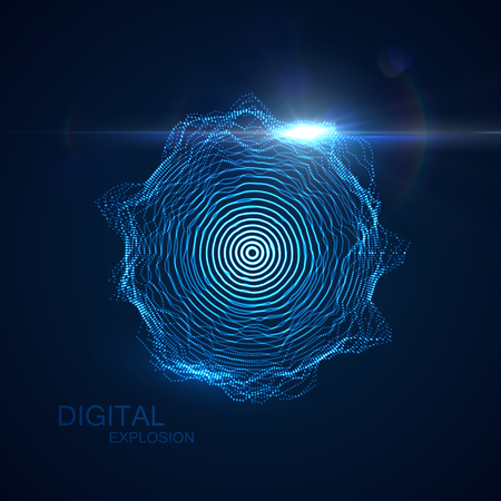 Abstract vector illuminated shape of particles array. Shape of Glowing particles and lens flare light effect. Futuristic vector illustration. HUD element. Technology digital splash or explosion concept
