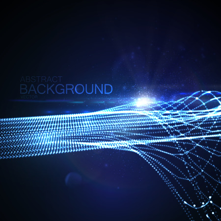 network cable: 3D illuminated abstract digital wave of glowing particles and Flare lens light effect. Futuristic vector illustration of particles. Technology concept of radio or sound wave. Abstract background