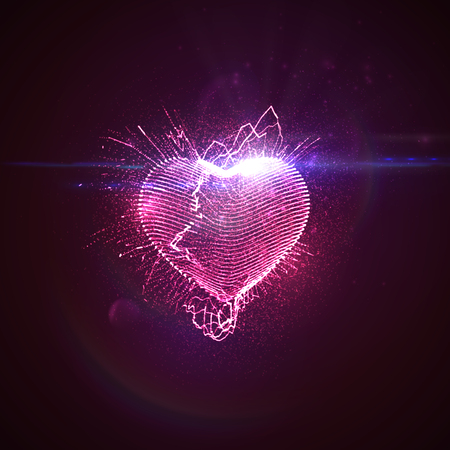 Happy Valentines Day. 3D illuminated neon heart of glowing particles, wireframe splashes and lens flare optical light effect. Vector illustration.