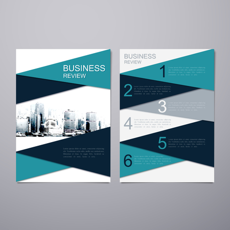 business review: Business Review Leaflet. Brochure or Flyer A4 size template design. Book cover layout design template. Abstract business presentation template with Hong Kong cityline