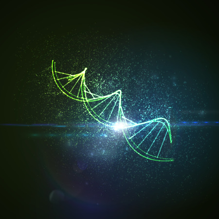 genom: DNA shiny neon illustration. Vector medical illustration of DNA strand with light flare. Science genetic concept of DNA chain