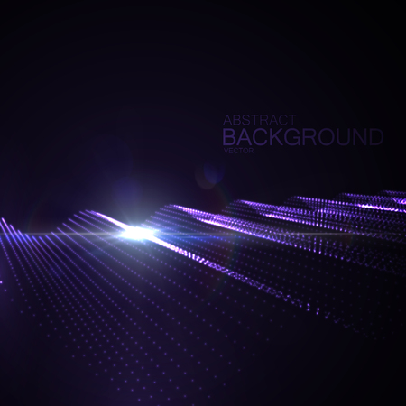 Radio: 3D illuminated abstract digital wave of glowing particles and Flare lens light effect. Futuristic vector illustration of particles. Technology concept of radio or sound wave. Abstract background