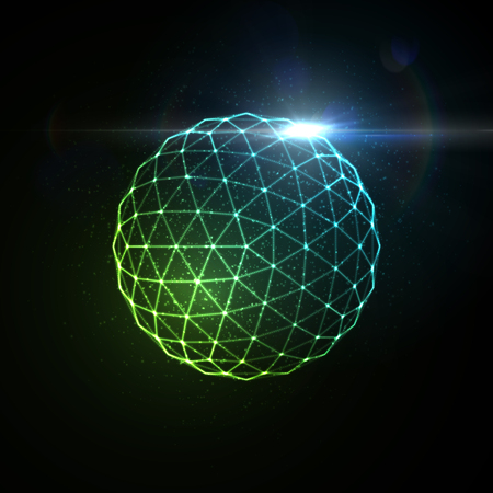 light effect: 3D illuminated sphere of glowing particles, wireframe and flare lens light effect. Futuristic vector illustration. Science or microbiology virus concept