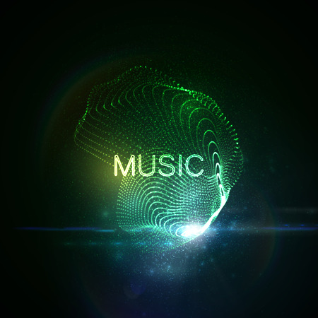 light effect: Music neon sign. 3D illuminated abstract shape of glowing particles, wireframe, splashes and lens flare optical light effect. Music disco party. Vector illustration.
