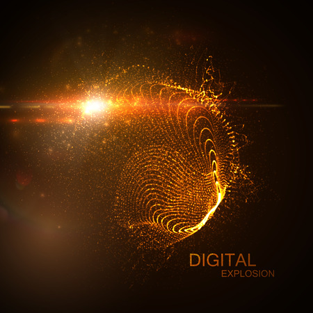 neon light: 3D illuminated abstract digital neon splash of glowing particles and Flare lens light effect. Futuristic vector illustration of particles. Technology concept of radio or sound wave. Abstract energy background