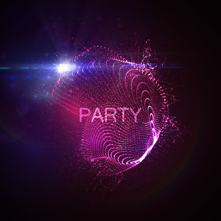 discoball: Party neon sign. 3D illuminated abstract shape of glowing particles, wireframe, splashes and lens flare optical light effect. Disco party. Vector illustration.