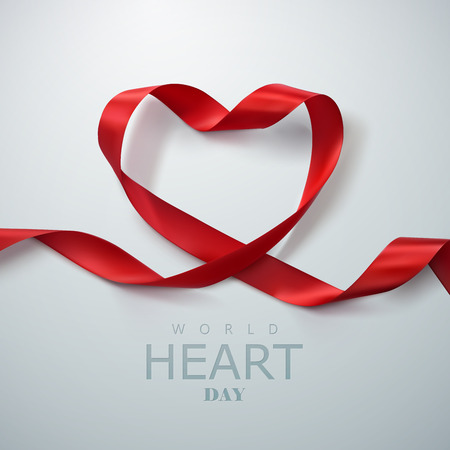 World Heart Day Background. Realistic satin ribbon heart with World Heart Day label. Vector illustration. Medical awareness day concept