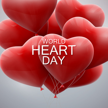 World Heart Day Background. Realistic red balloon hearts with World Heart Day label. Vector illustration. Medical awareness day concept Illustration