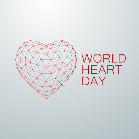 World Heart Day Background. 3D wireframe heart shape with World Heart Day Label. Vector illustration. Medical awareness day concept Illustration