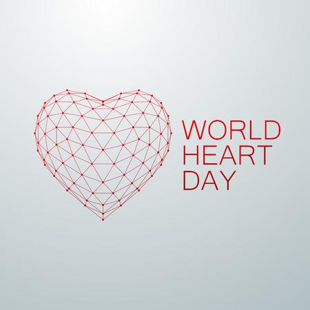 World Heart Day Achtergrond. 3D wireframe hartvorm met World Heart Day Label. Vector illustratie. Medische voorlichtingsdag begrip Vector Illustratie