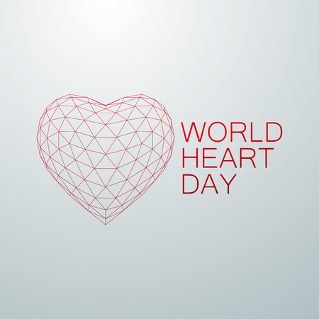 doctor exam: World Heart Day Background. 3D wireframe heart shape with World Heart Day Label. Vector illustration. Medical awareness day concept Illustration