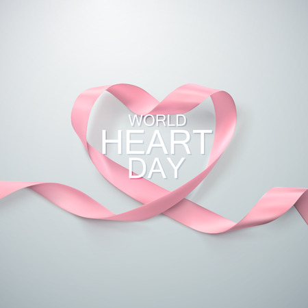 doctor exam: World Heart Day Background. Realistic satin ribbon heart with World Heart Day label. Vector illustration. Medical awareness day concept