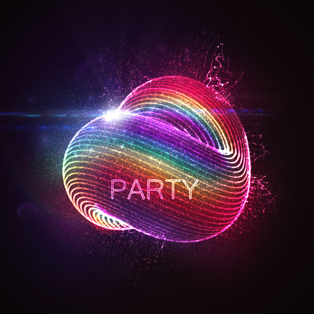 3D abstract loop shape of rainbow illuminated particles with lens flare optical light effect. Futuristic vector illustration. Disco party. Vector illustration. Gay friendly or LGBT event Illustration