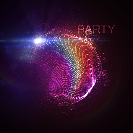 abstract music: Party neon sign. 3D illuminated abstract shape of rainbow glowing particles, wireframe, splashes and lens flare optical light effect. Disco party. Vector illustration. friendly event concept Illustration