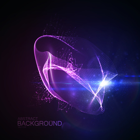 radioactive symbol: 3D illuminated abstract digital neon splash of glowing particles and Flare lens light effect. Futuristic vector illustration of particles. Technology concept of radio or sound wave. Abstract energy background