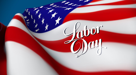 sates: Labor Day. Vector illustration of United Sates of America flag and Labor Day lettering emblem. USA flag