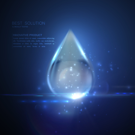 anti age: Collagen serum droplet with particles and lens flare light effect. Vector beauty illustration of collagen serum. Cosmetic skin care treatment design