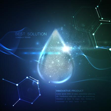 Collagène gouttelette de sérum avec des particules et lens flare effet de lumière. Vector illustration beauté de sérum de collagène. conception de traitement de soins de beauté de la peau