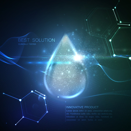 Kolagen kropli serum z cząstkami i Flara efekt świetlny. Wektor piękna ilustracja kolagenu surowicy. Kosmetyki do pielęgnacji skóry leczenie projekt