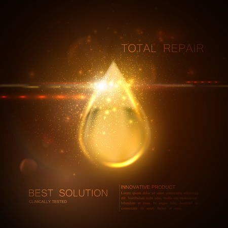 Collagen serum or oil essence golden droplet with particles and lens flare light effect. Vector beauty illustration of clinically tested innovative product. Cosmetic skin or hair care treatment design Çizim
