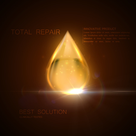 light skin: Collagen serum or oil essence golden droplet with particles and lens flare light effect. Vector beauty illustration of clinically tested innovative product. Cosmetic skin or hair care treatment design Illustration