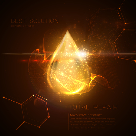 Collagen serum or oil essence golden droplet with particles and lens flare light effect. Vector beauty illustration of clinically tested innovative product. Cosmetic skin or hair care treatment design Illustration