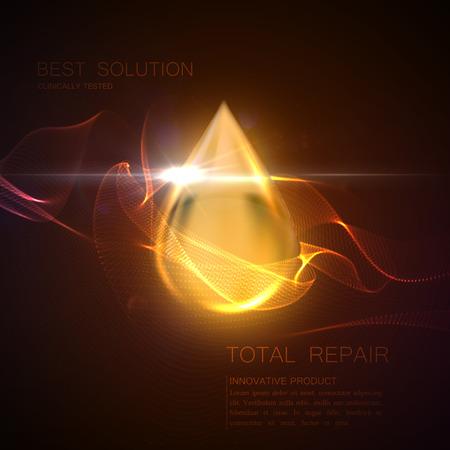 Collageen serum of olie essentie gouden druppel met deeltjes en lens flare licht effect. Vector schoonheid illustratie van klinisch getest innovatief product. Cosmetische huid of haar zorg behandeling ontwerp