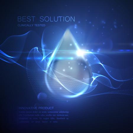 Collageen serum druppel met deeltjes en lens flare licht effect. Vector schoonheid illustratie van collageen serum. Cosmetische huidverzorging ontwerp