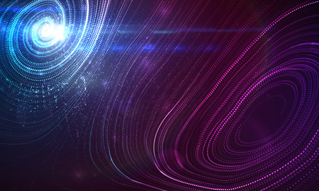 3D illuminated abstract swirl wave of glowing particles and Flare lens light effect. Futuristic vector illustration of particles. Technology concept of radio or sound wave. Abstract background