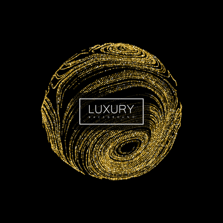 digital abstract: Luxury background with abstract sphere of shiny golden glitters. Vector illustration of glittering swirled stripes texture Illustration