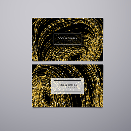 Greeting, invitation or business cards design template with swirled glittering stripes. Vector illustration of golden glitter background. Marble or acrylic texture imitation. Illustration