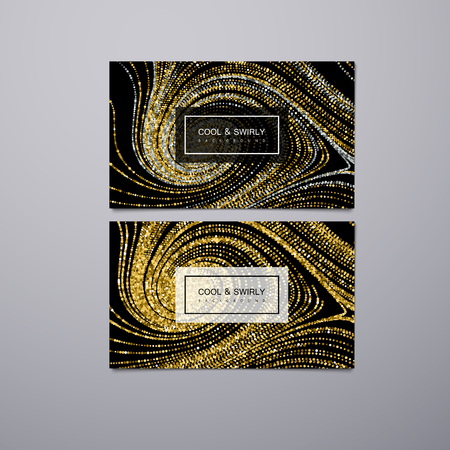 business card template: Greeting, invitation or business cards design template with swirled glittering stripes. Vector illustration of golden glitter background. Marble or acrylic texture imitation. Illustration