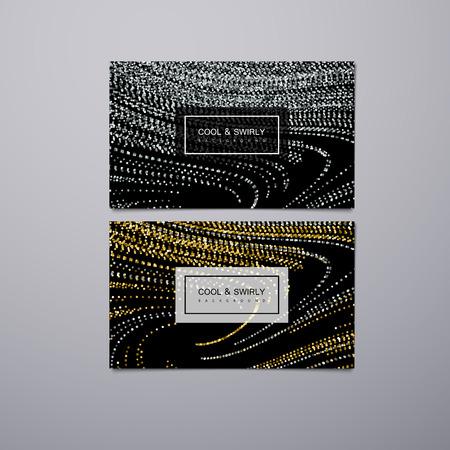 Gruß, Einladung oder Visitenkarten-Design-Vorlage mit gewirbelt glitzernde Streifen. Vektor-Illustration der goldenen und silbernen Glitzer Hintergrund. Marmor oder Acryl Textur Nachahmung. Standard-Bild - 65400855