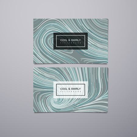 illustration cool: Greeting, invitation or business cards design template with swirled stripes. Vector illustration of swirled and curled stripes background. Marble or acrylic texture imitation. Cool and Swirly background