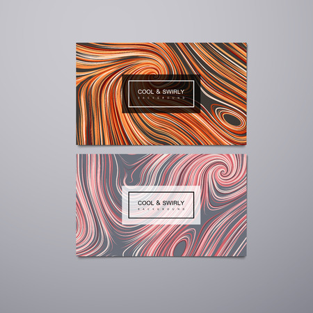 illustration cool: Greeting, invitation, business cards design template with swirled stripes. Vector illustration of swirled and curled stripes background. Marble or acrylic texture imitation. Cool and Swirly background