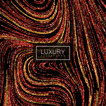 Luxury festive background with shiny red ruby and golden glitters. Vector festive illustration of red glittering swirled stripes texture Illustration