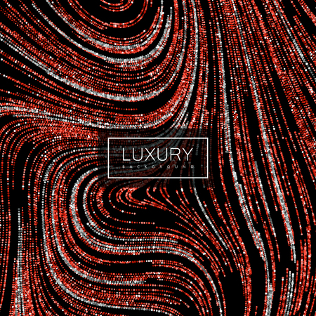 ruby red: Luxury festive background with shiny red ruby and silver glitters. Vector illustration of red glittering swirled stripes texture