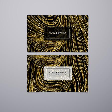 Saludo, invitación o tarjetas de visita plantilla de diseño con rayas brillantes remolinados. Vector ilustración de fondo de oro del brillo. Mármol o la textura de imitación de acrílico.