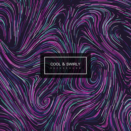 Abstract artistic curl background with swirled stripes. Vector vintage illustration of swirled and curled stripes background. Marble or acrylic texture imitation. Abstract psychedelic background Illustration