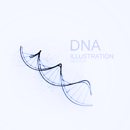 dna chain: DNA chain. Vector illustration of DNA strand and particles. Artistic ink imitation vector illustration. Science or Medical concept